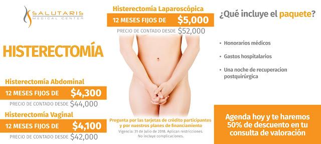 Paquete de histerectomia guadalajara precio