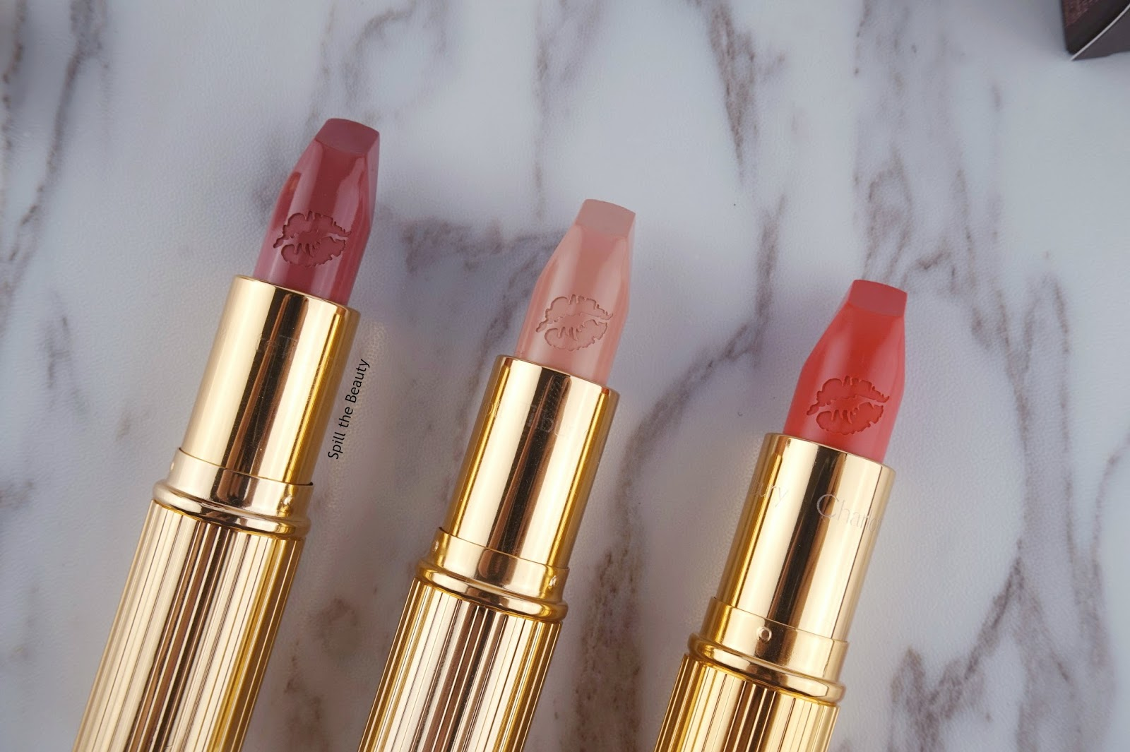 charlotte tilbury hot lips lipstick secret salma kim k.w. miranda may review swatches look