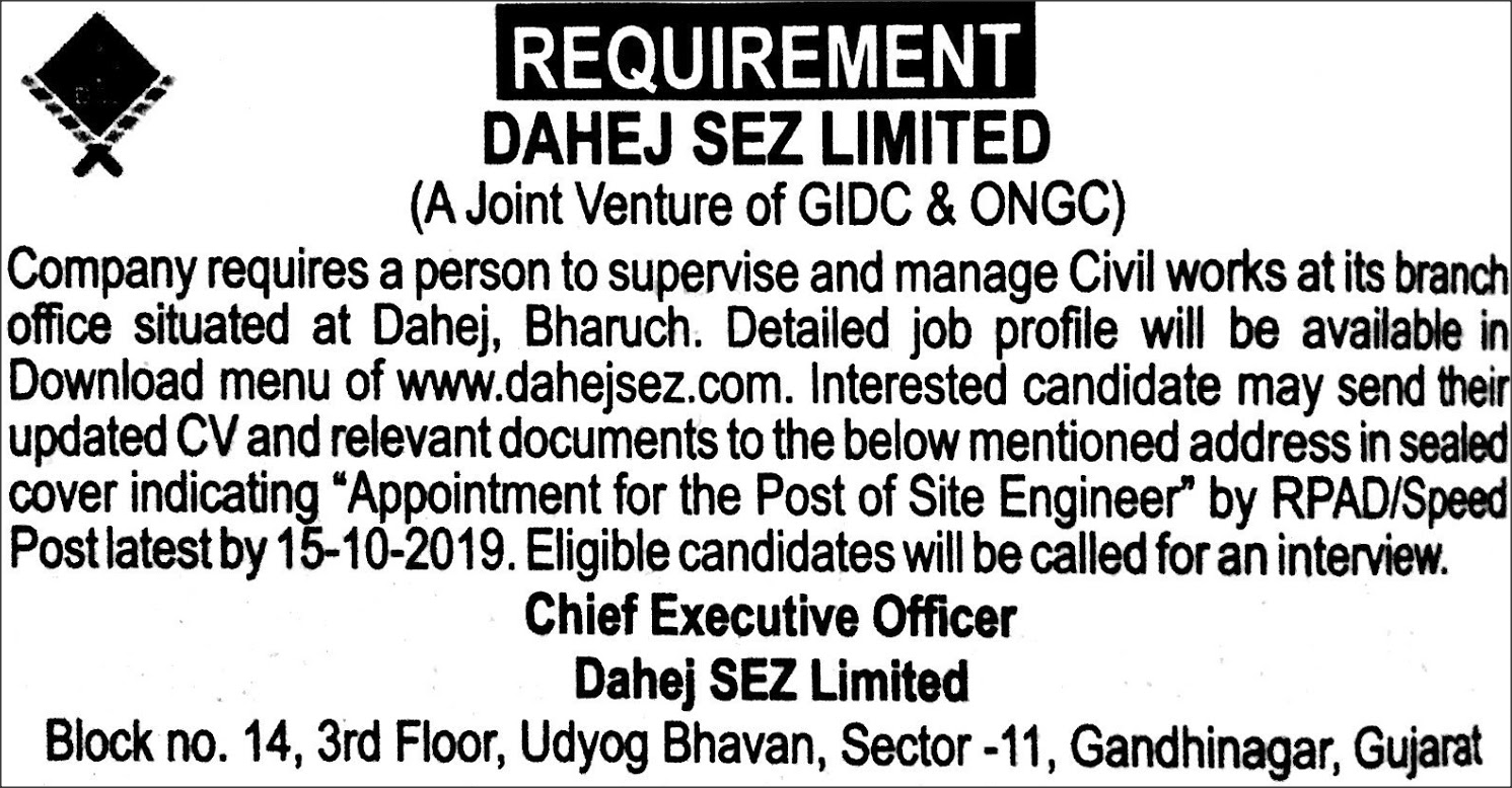 Dahej SEZ Ltd. Recruitment For Site Engineer (Civil) Post
