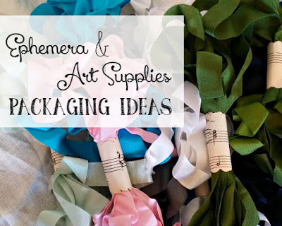 Packaging ideas for selling vintage ephemera and artist supplies.