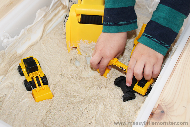 sand foam construction site activity for toddlers