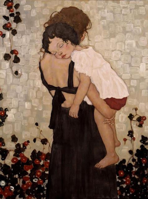 Quadro moderno madre che abbraccia figlio