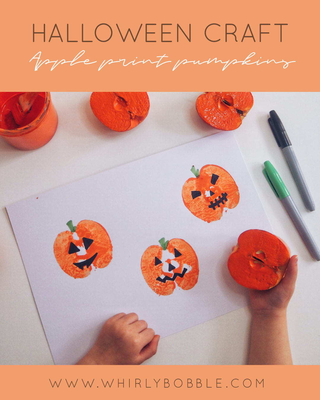 apple print pumpkin craft