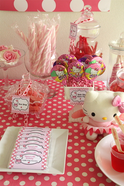 Hello Kitty theme decorations & Party Hat: Candy Buffet Table: Hello Kitty
