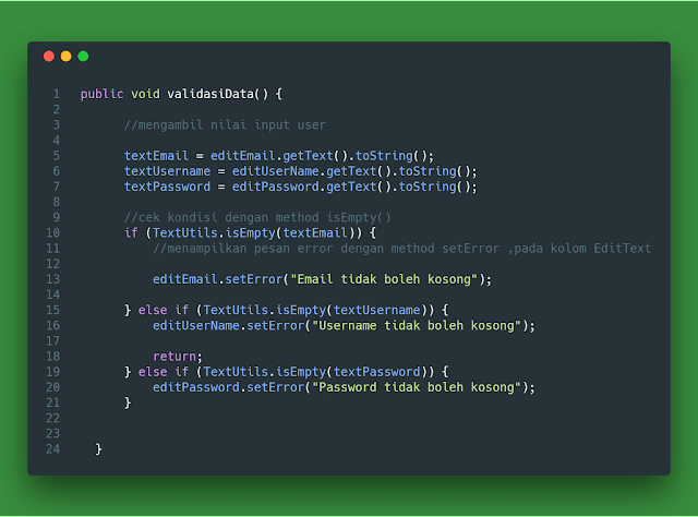 ketika kita ingin menciptakan akun social media  3 Cara Membuat Validasi Form Input Kosong EditText Android Studio