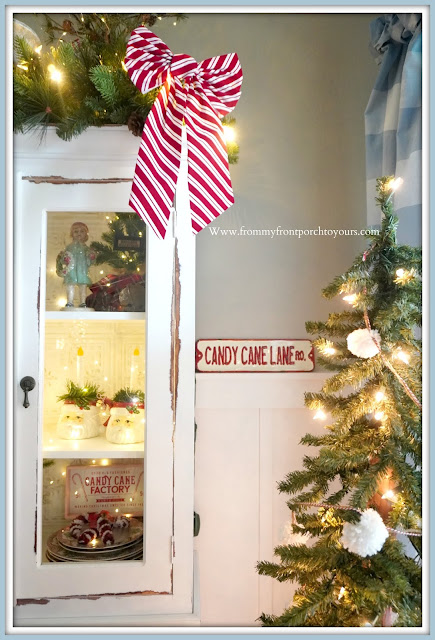 Cottage -Farmhouse -Christmas- Dining- Room- Candy- Cane -Lane Sign-From My Front Porch To Yours