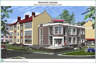 Проект нежилого здания в г. Кинешма Ивановской области. 2-й этап строительства. Архитектурные решения - Видовая точка 1