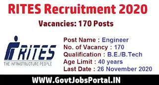 RITES Engineer Online Form 2020  Govt Jobs for 170 Engineer Posts