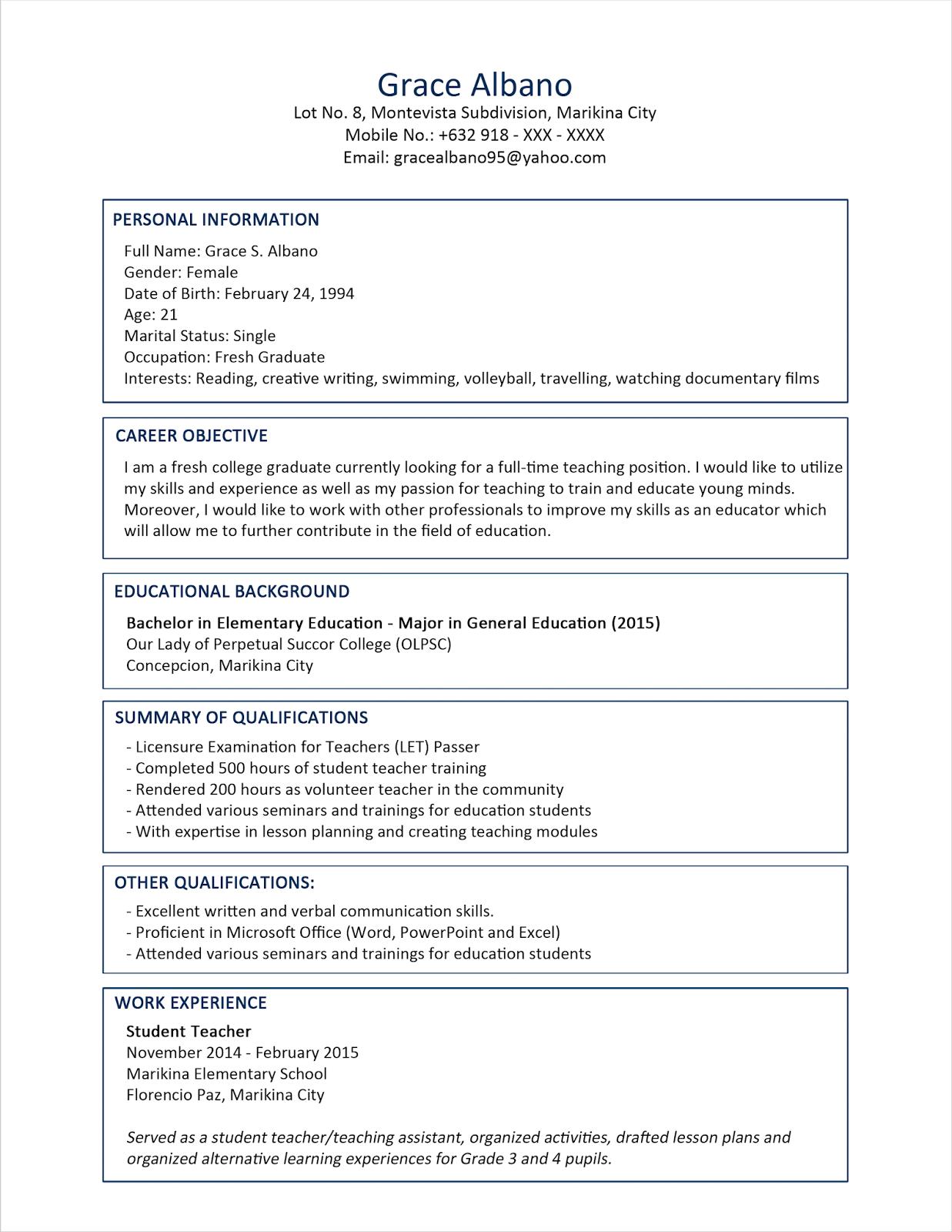contoh resume dan tips temuduga himpunan contoh resume 2015