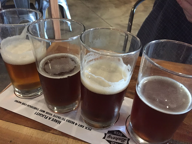 Fun, fun, fun beer flight of locally brewed beer in Alton, Illinois
