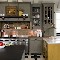 Timeless kitchen ideas with grey cabinets and varies of color countertops