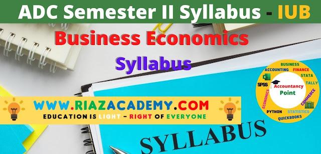ADC-II  Business Economics Syllabus
