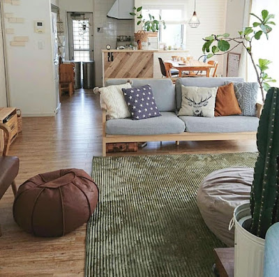 Decorating idea for small apartment with throw pillows and rug