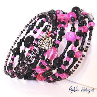 stacked bracelets heart charm bracelet rock star jewelry hot pink