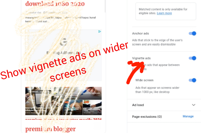 Show vignette ads on wider screens