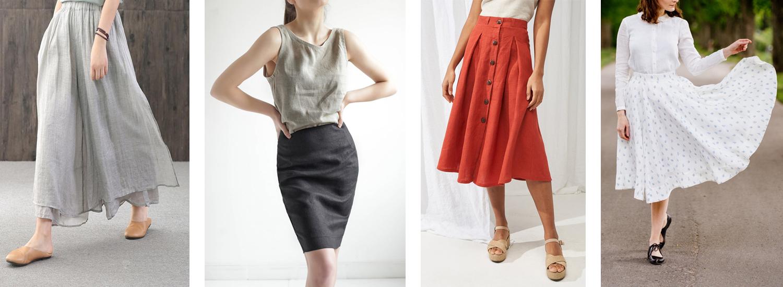 Leinen-Röcke aus europäischem nachhaltigen Leinen