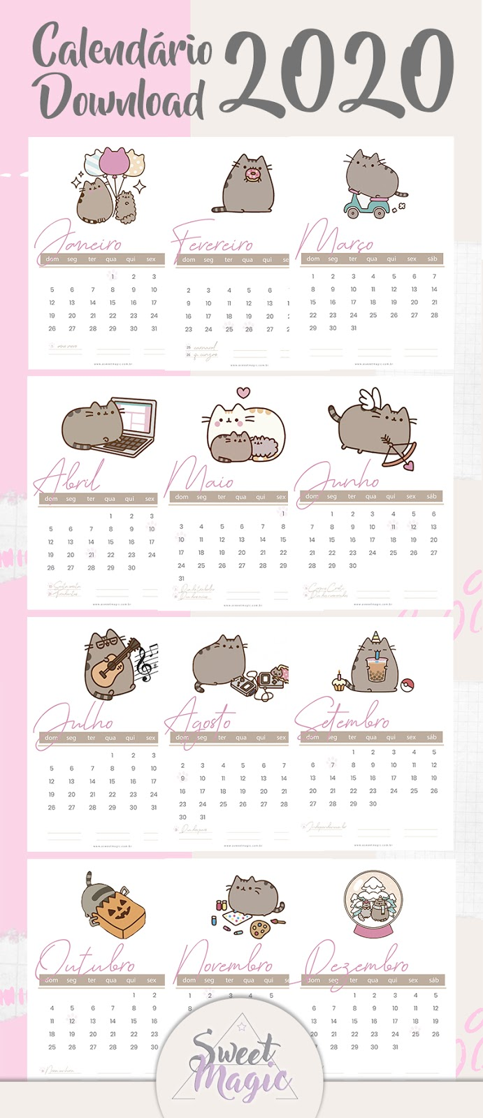 calendario-fofo-2020-pusheen-cat-gratis