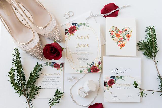 wedding invitation and winter decor