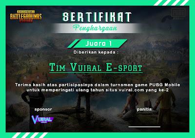 Download Mentahan Contoh Sertifikat Turnamen PUBG Mobile Keren 2