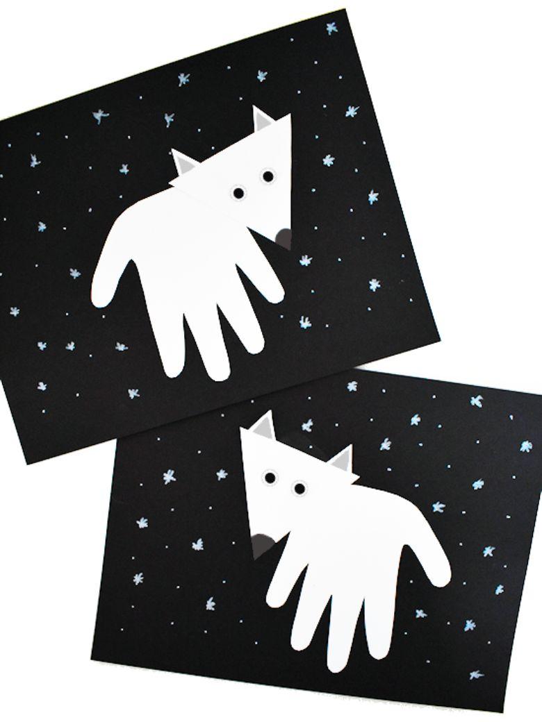 handprint arctic fox craft