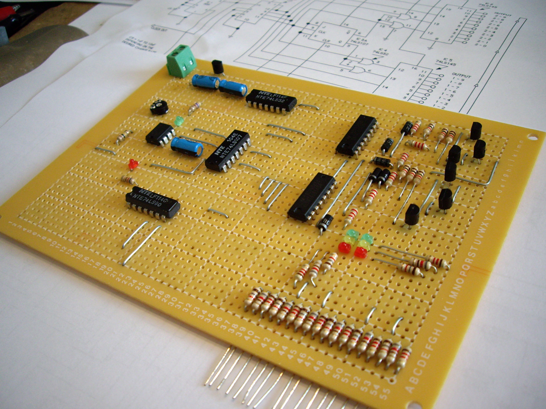 20 output custom scratch built traffic light controller circuit on a blank PC board