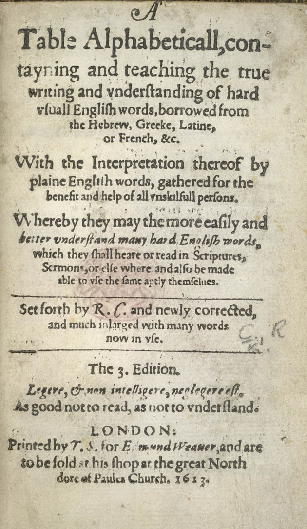 English In Italian: The History Of English Dictionaries: Cawdrey's Table