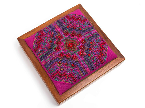 Canvaswork embroidered wooden box top in pink, red and purple