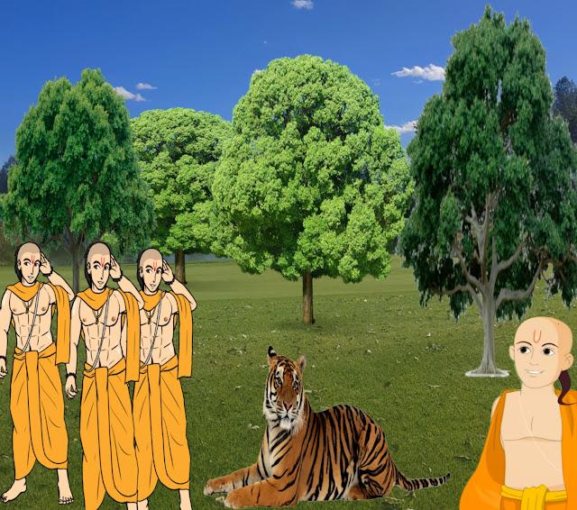 char bramhan putra aur sher ki kahani, anpadh budhiman , panchtantr ki kahani