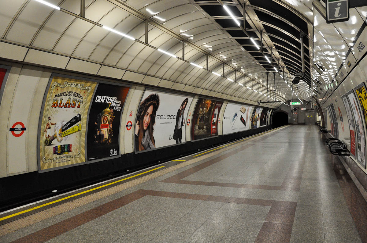 Empty tube platform, Angel, London, England