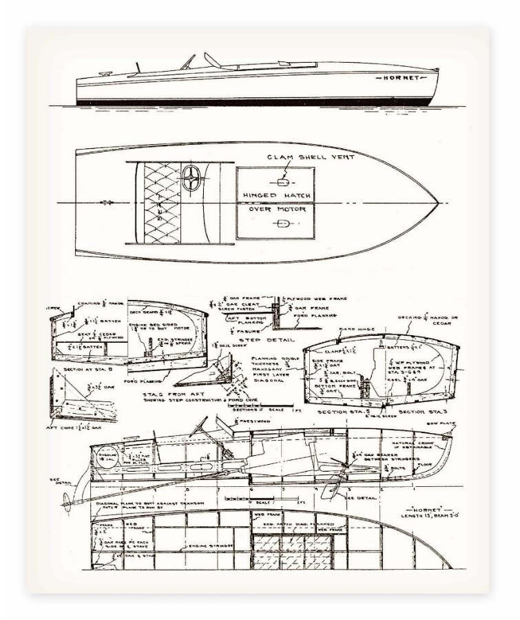 Classic speed boat plans my boat plans Blueprints for sale
