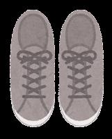 上から見た靴のイラスト(スニーカー・グレー)