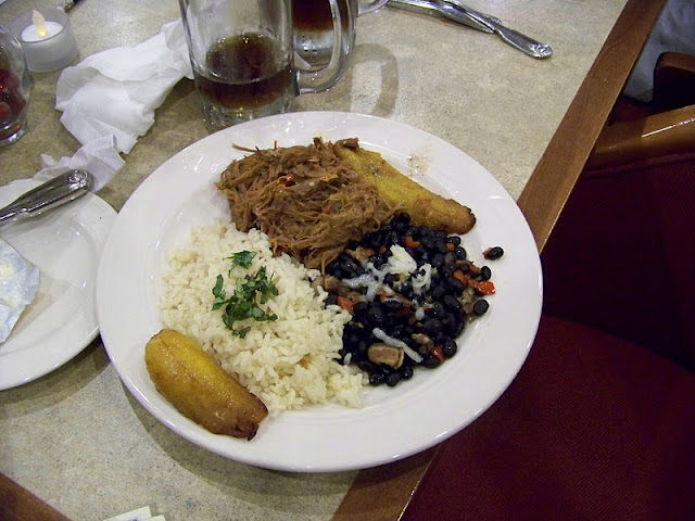 Pabellon Criollo with Black Beans, rice and Plantains
