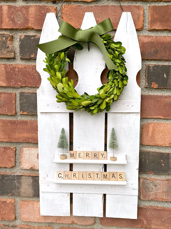 Repurposed Picket Fence Scrabble Christmas Decoration