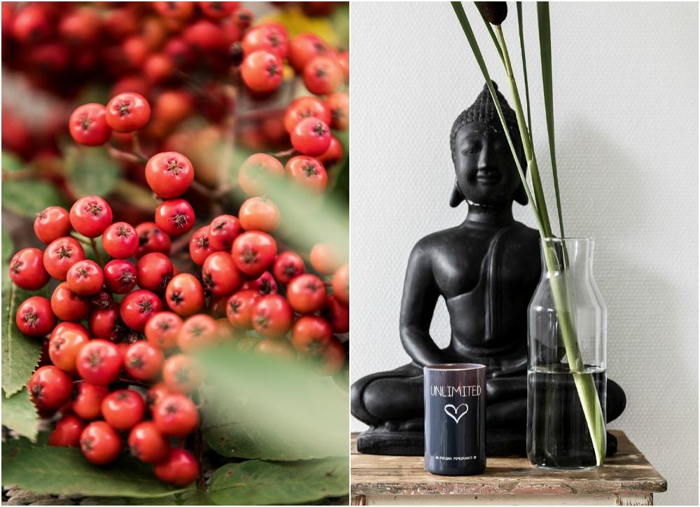 buddha, sisustus, sisustaminen, tuoksukynttilä, pomegranate, granaattiomena, tuoksu, kodintuoksu, luonto, hygge, kynttilä, syksy, interior, inredning, maljakko, jakkara, Visualaddict, valokuvaus, valokuvaaja Frida Steiner, lifestyle, sisustusblogi, kanervat, pihlajanmarjat