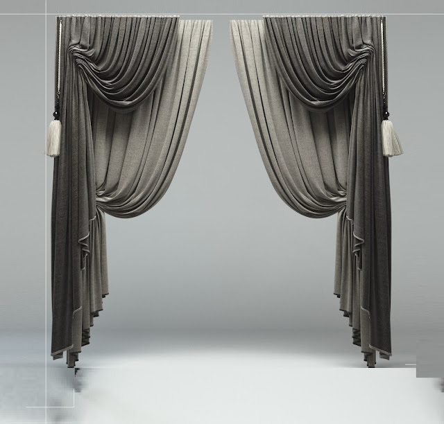 Ready made curtain designs: black and white drapery