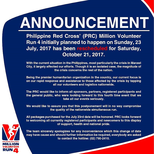 Philippine Red Cross  moves Million Volunteer Run 4 to October 21, 2017