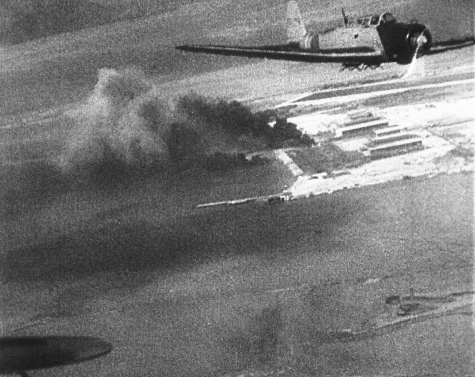 Japanese planes over Hawaii during the attack on Pearl Harbor are shown in this scene from a Japanese newsreel. The film was obtained by the U.S. War Department and later released to U.S. newsreels.