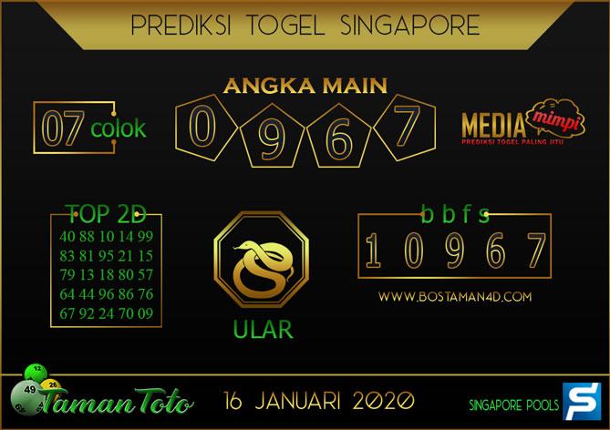 Prediksi Togel SINGAPORE TAMAN TOTO 16 JANUARI 2020