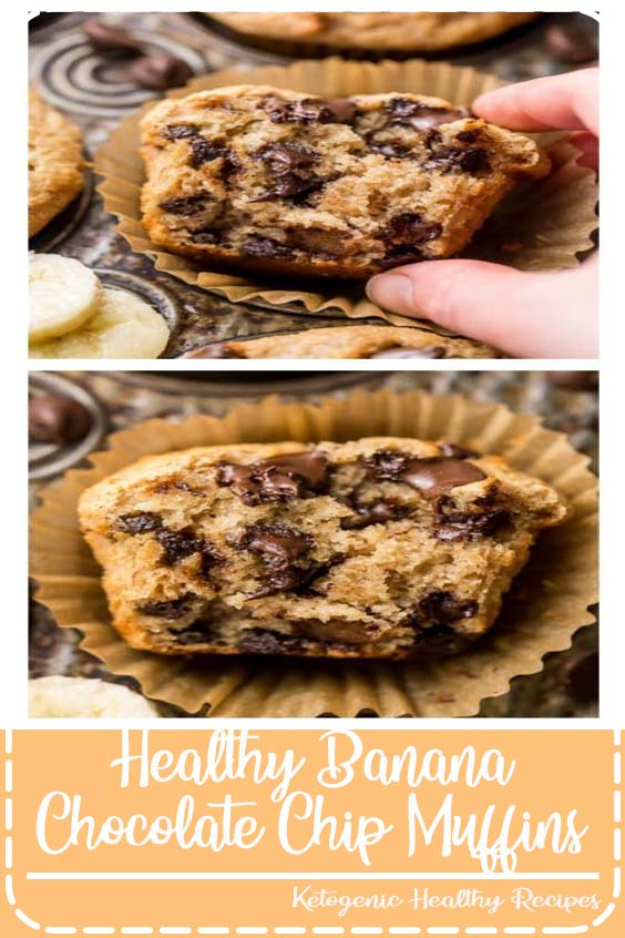 Healthy Banana Chocolate Chip Muffins! Super moist and made with healthy ingredients! #muffins #banana#bananabread #bananamuffins#healthydesserts #healthybaking#chocolatechip