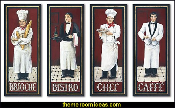 cafe wall decor French Kitchen Brioche Caffe Chef Bistro Retro Signs Kitchen Decor