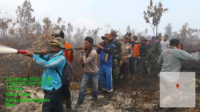 Hutan Semak di Desa Titi Akar Kembali Membara