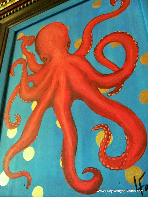 red Octopus art acrylic painting
