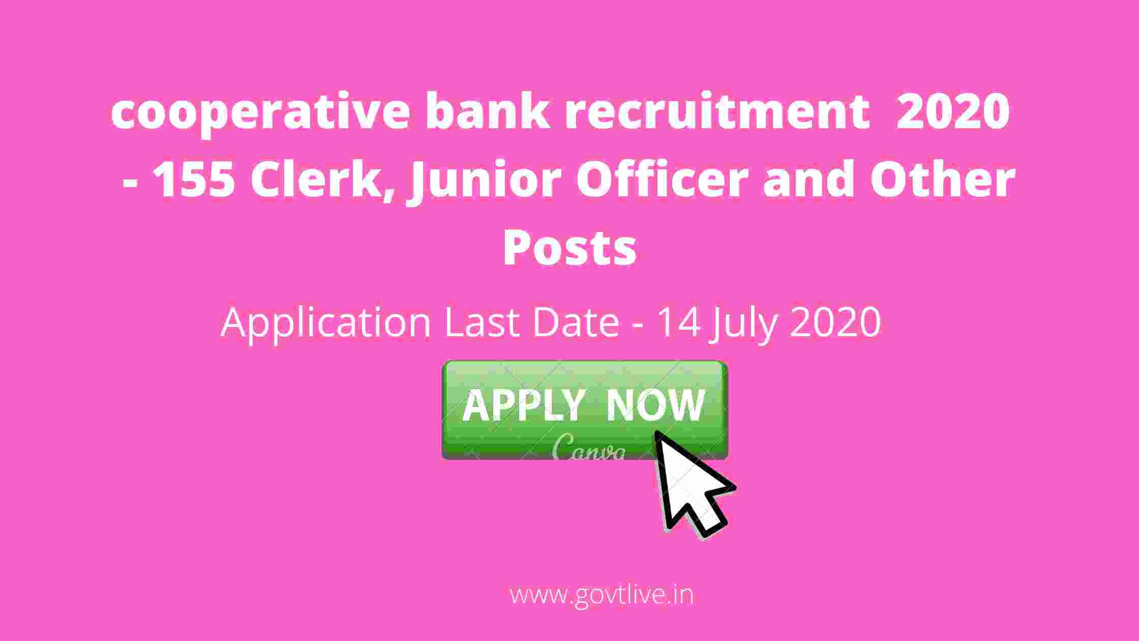 cooperative bank recruitment  2020  - 155 Clerk, Junior Officer and Other Posts