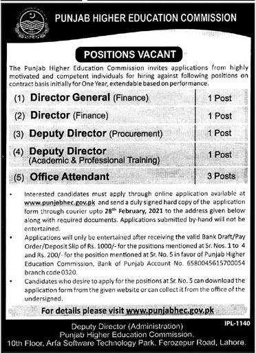 Latest Punjab Higher Education Commission Jobs 2021