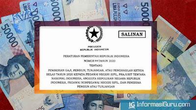 Download PP Nomor 44 Tahun 2020 Tentang Pemberian Gaji Ketiga Belas (Ke 13) Kepada PNS TNI Polri, Pegawai Nonpegawai Negeri Sipil, dan Penerima Pensiun atau Tunjangan