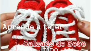 Tutorial Zapatillas Bebé Crochet Tipo Converse Paso a Paso en Español - Click para ver