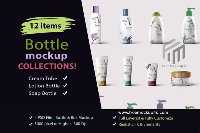 Cream Tube Lotion and Soap Bottle Mockup Collections Bundle Pack