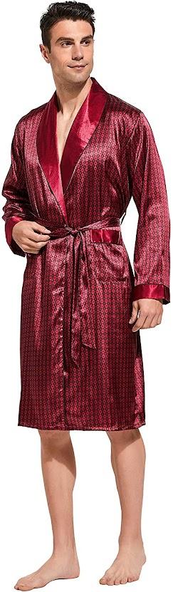 Burgundy Satin Robes For Men