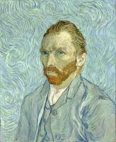 Post impressionist painter Vincent van Gogh's self-portrait, circa 1889 with blue tones.