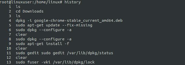 riwayat terminal linux